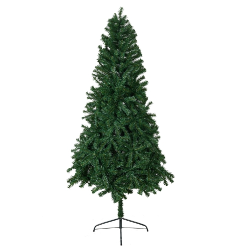 KARMAS 7 Ft High Christmas Tree Unlit Decorate Pine Tree With Metal Legs Green White With Anti-dust Bag