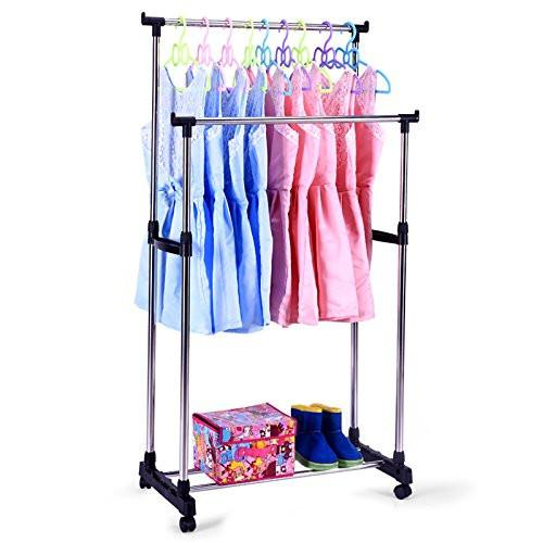 Karmas Portable Double Rods Rolling Clothes Rack Adjustable Garment Rack Hanging Rack for Clothes with Wheels