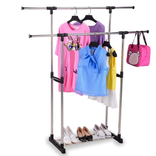 Karmas Portable Double Rods Clothes Rack Adjustable Garment Rack with Tiers Storage Shelves