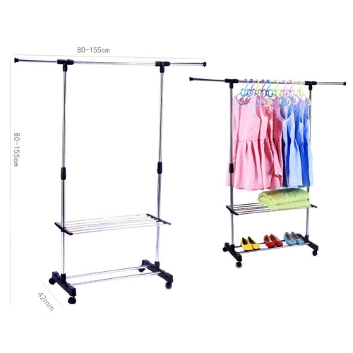 Karmas Portable Single Rod Extendable Clothes Rack Adjustable Garment Rack