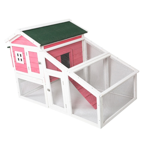 Karmas Pet Cage Cat House Large Space Indoor Mesh Wire And Wooden Pink Small Animals House For Guinea-Pigs Ferrets Rabbit
