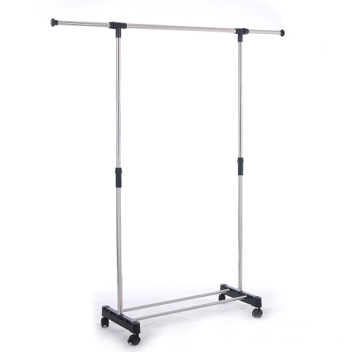 Portable Single Rod Extendable Clothes Rack Garment Rack -with Wheels Storage Shelves