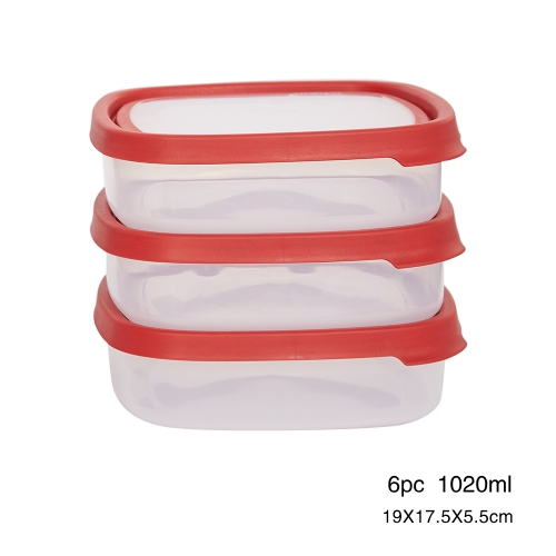 6 Pcs/3 Pack Food Storage Container Set with Easy Locking Lids,BPA Free and 100% Leak Proof,Plastic