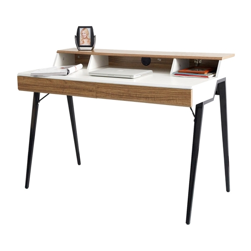 "Karmas 47"" Stylish Design Computer Desk with 2 Drawers,Solid Wood Computer Table with Black Metal Legs"
