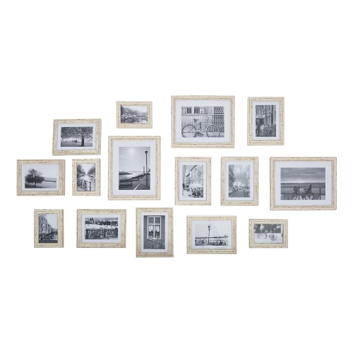 15pc Multi Pack Picture Frame Value Set - Three 8x10 in, Eight 5x7 in, Four 3.5x5 in,Including White Picture Mats (brown)