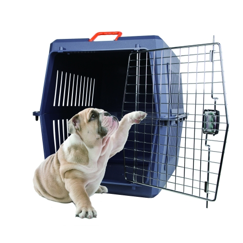 Karmas  Plastic Cat & Dog Carrier Cage with Chrome Door Portable Pet Box Airline Approved