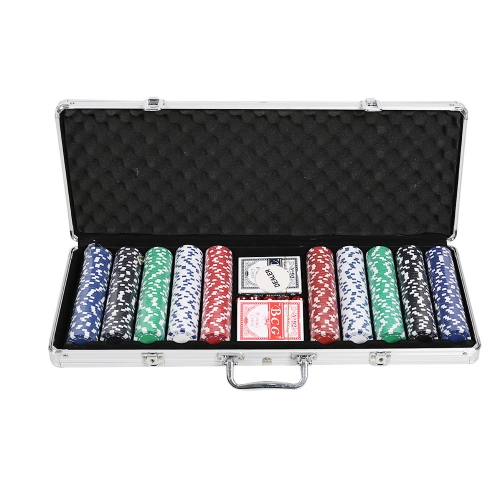 Poker Chip Set for Texas Holdem, Blackjack, Gambling with Carrying Case, Cards, Buttons and 500 Pieces Casino Chips,Total weight 16.3l