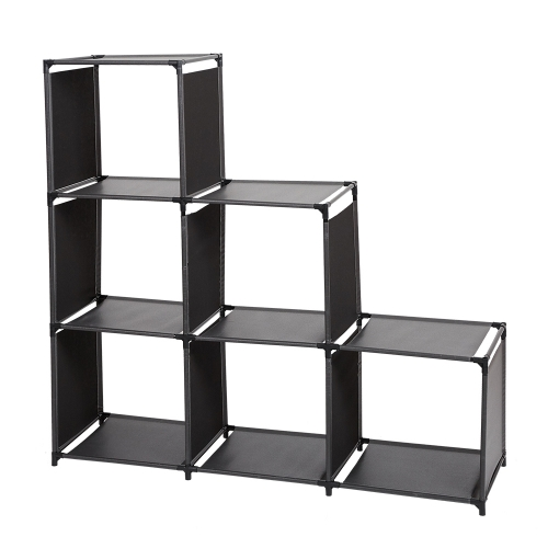 Karmas 3-Tier Storage Cube Cabinet Bookcase 6-Cube Closet Organizer Shelves Suitable For Bedroom Living Room Office, Black