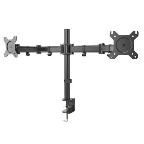 "Dual LCD Monitor Free Standing Desk Mount Stand Heavy Duty Fully Adjustable Fits Two Screens up to13""- 27"" ,17.6 lbs per Arm Capacity,"