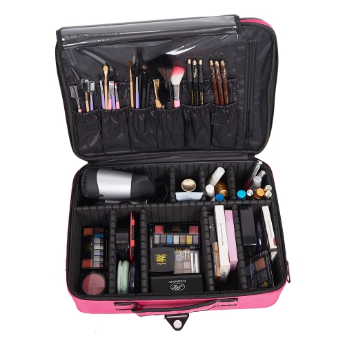 Backpack Portable Travel Makeup Case Cosmetic Organizer Bag Mini Makeup Train Case Pink