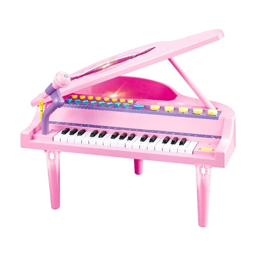 32 Keys Little Pink Piano for Girls with Microphone Electronic Organ Music Keyboard for Kids