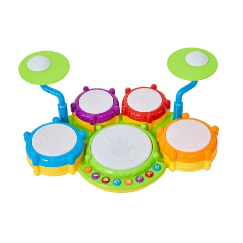 Musical Instrument Hand Drum Toy with Flash Lights for Kids Early Learning