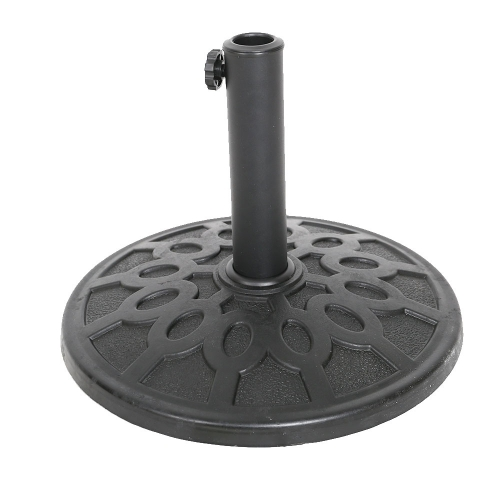 17-Inch Round Heavy Duty Outdoor Patio Umbrella Base Stand, Made From Rust Proof Composite Materials, Black