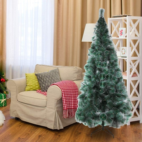 KARMAS PRODUCT 7 Ft Christmas Tree 295 Tips Decorate Pine Needles Tree Gold Dot with Free Decoration Gift