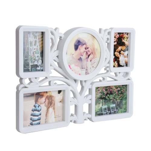 Home Wall Hanging Photo Frame Picture Collage Puzzle Display Tree Type 5 Openings Two 4x6 and One 6x6 and Two 7x5 inch, White