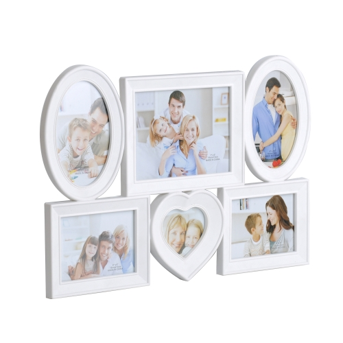 Home Family Puzzle DIY Display Collage Wall Hanging Photo Frame 6 Openings One 4x4 and Two 4x6 and Two 6x4 and One 7x5 inch, White