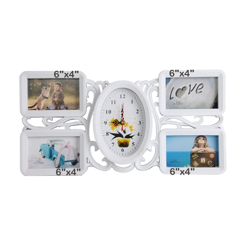 Home Decorative Collage Wall Hanging Picture Photo Frame 4 Openings Four 6x4 inch with One Clock, White