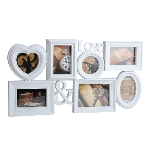 Home Gallery Cafe Display Collage Wall Hanging Photo Frame 7 Openings Picture Frame Two 4x4 and Two 4x6 and Two 6x4 and One 7x5 inch, White