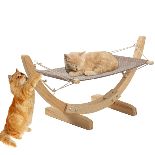 Pet Hammock Luxury Cat Kitten Puppy Hanging Bed for Relaxing and Sleeping, Wood and Cloth, Easy to Assemble, Hold up to 30lbs Small animals