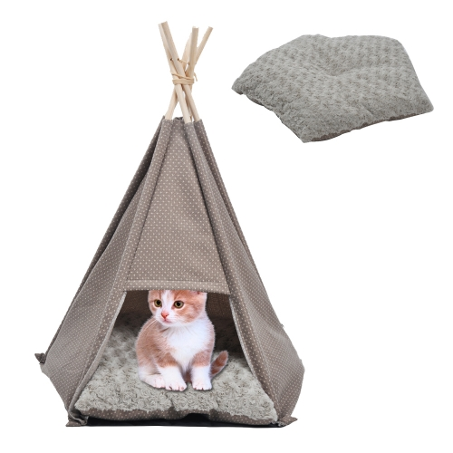Pet Teepee Tent Dog Cat Bed Kennel Portable Puppy Kitten Rabbit House with Warm Soft Comfort Cushion