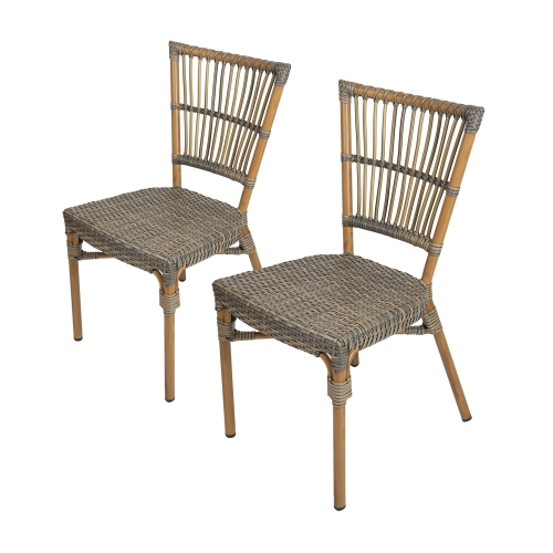 Karmas 2 Piece Patio Rattan Wicker Chair, Indoor Outdoor Use Garden Lawn Backyard Bistro Cafe Stack Chair,All Weather Resistant