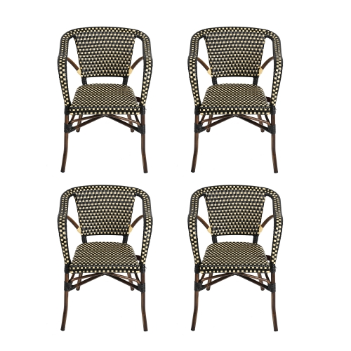 KARMAS PRODUCT 4 Piece Patio Rattan Wicker Chair, Indoor Outdoor Use Garden Lawn Backyard Bistro Cafe Stack Chair,All Weather Resistant