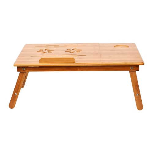 Karmas Adjustable Bamboo Laptop Desk Foldable Breakfast Table Serving Bed Tray with Tilting Top Drawer,Eco Friendly
