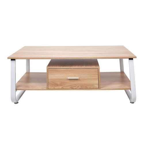Karmas Rectangular Coffee Table with Drawer&Storage Shelf for Living Room,Wood Accent Furniture with Metal Frame,Oak&White