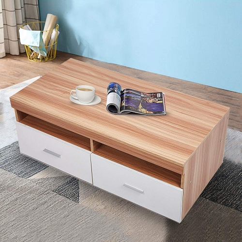 "Karmas 40"" TV Stand/Wood Coffee Table with Drawers & Storage Compartments,Rectangular End Table for Living Room,Modern Furniture,Oak&White"