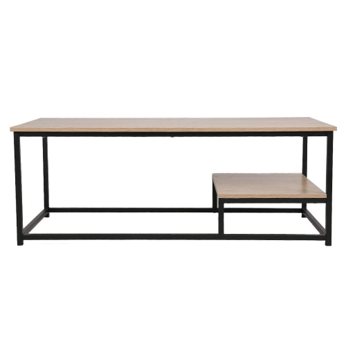 Livebest Coffee Table Nordic Style Rectangular Cocktail Table Wood Top Black Metal Box Frame
