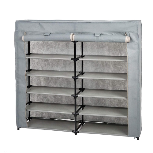 Karmas 12-Tier Shoe Rack 36-Pair Portable Shoe Organizing Shelf with Dustproof Non-woven Fabric Cover