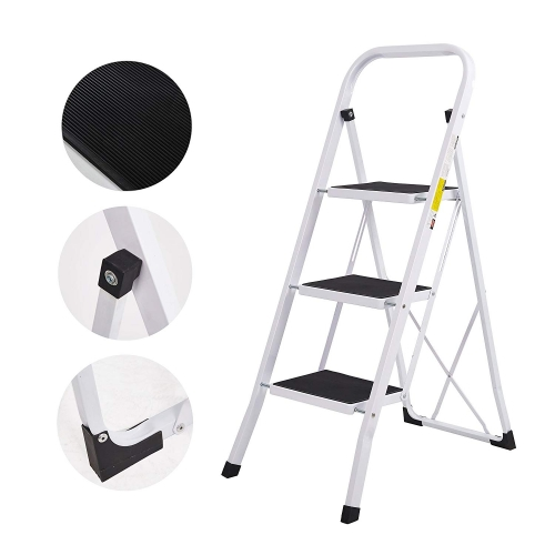 Karmas Folding Compact Portable 3 Step Ladder 330 lb Capacity, White