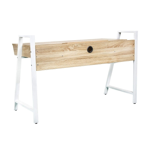 Karmas Wood Computer Desk Computer Table Writing Desk Workstation Study Home Office Furniture with Two Drawers,White Metal Leg