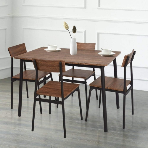 Karmas 5 Piece Wood Dining Table Set Home Kitchen Table and Chairs for 4 Person with Metal Legs,Retro Brown