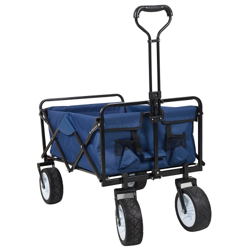 Karmas Collapsible Camping Wagon Garden Folding Utility Shopping Cart with Handle,Sturdy Steel Frame,Garden/Beach Wagon/Cart
