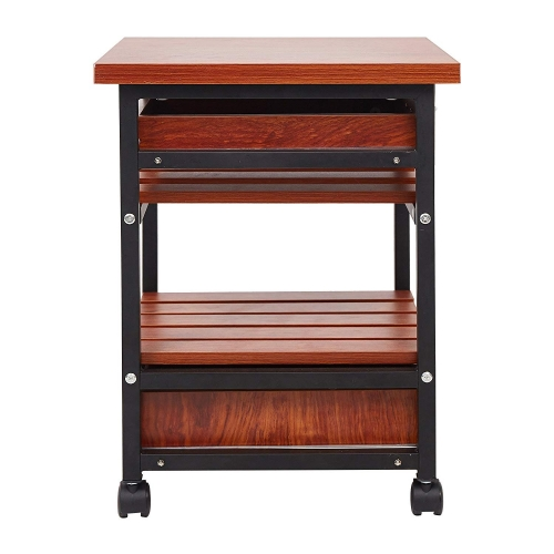 Karmas Beside Table with Drawers Rolling Nightstand Small End Table,Bedroom Living Room Side Table with Storage Shelf,Teak Colour
