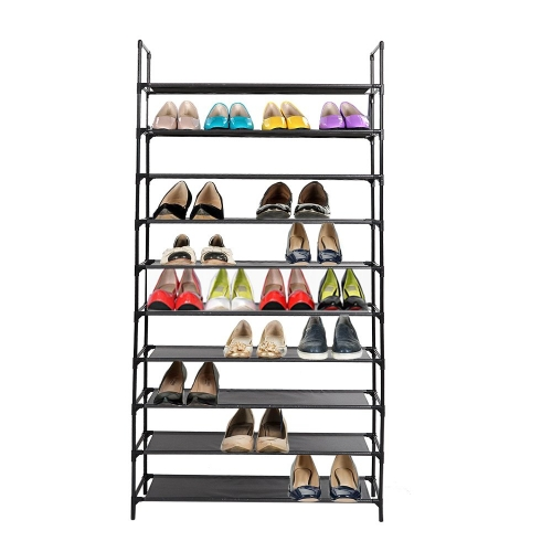 Dporticus 10 Tiers Shoe Rack Free Standing Non-Woven Fabric Shoe Tower Organizer Cabinet for Entryway, Hallway, Living Room