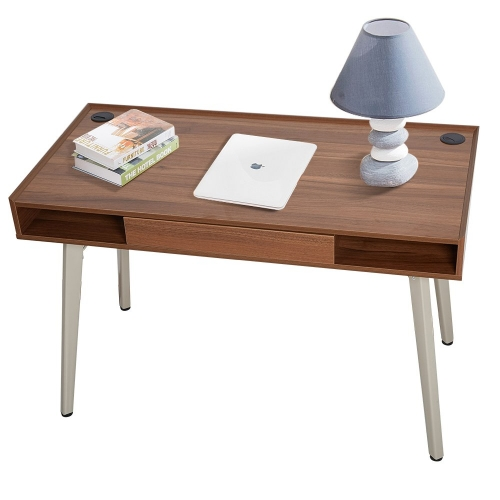 "Dporticus 47""Modern Computer Desk Workstation with Drawer PC Laptop Table Writing Desk Study Home Office Furniture Brown"