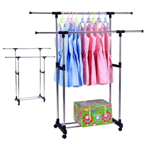 Karmas Double Rods Adjustable Karmas Double Rods Rolling Garment Rack with Shoe storage and Bottom Wheels,Silver