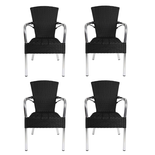Karmas 4 Piece Patio Rattan Wicker Chair, Indoor Outdoor Use Garden Lawn Backyard Stack Chair,All Weather Resistant