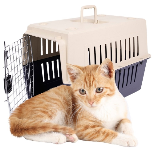 Karmas 4 Size Plastic Cat & Dog Carrier Cage with Chrome Door Portable Pet Box Airline Approved