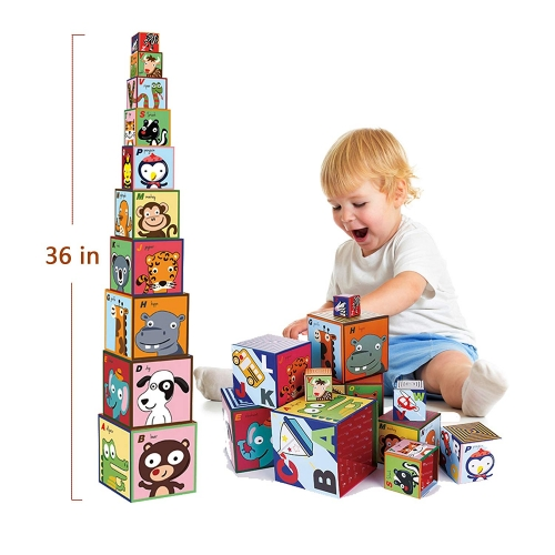 Mobee 10 Pieces Stacking Cubes Nesting Boxes Educational Toys Alphabet Block for Children Toddlers