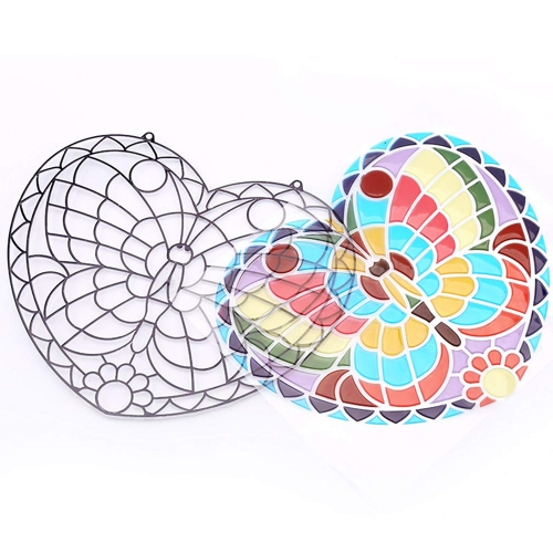 Mobee Peel and Press Stained Glass Stickers 140+ Butterfly with Ready-to-Hang Cord and Suction Cup
