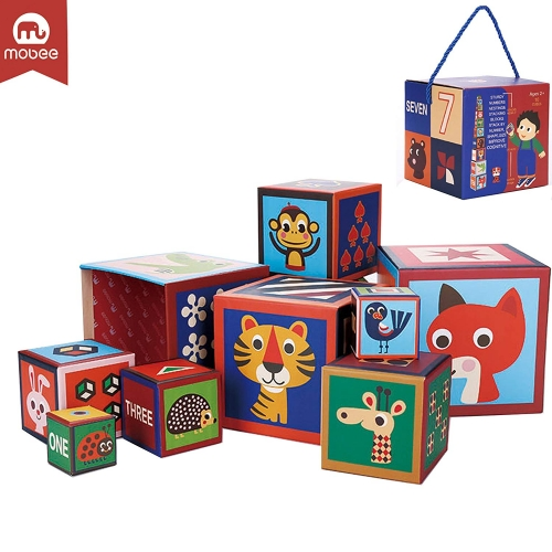 Mobee 10 Pieces Nesting Blocks Stacking Cube Boxes Educational Number Block for Kids Educational Toy