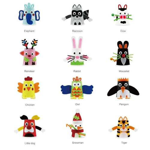Mobee Felt Paper Cup Sticker DIY Craft Kits Paper Art Training Early Educatioanl Playing Toys Kids
