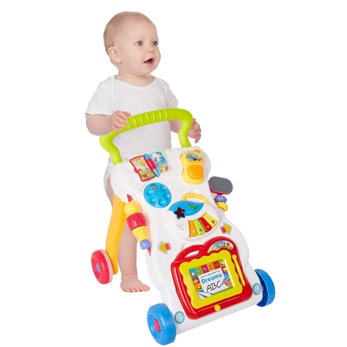 Dporticus 3-in-1 Early Development Toy Baby Sit to Stand Interactive Learning Baby Walker Push Pull Toys with Music and Wordpad