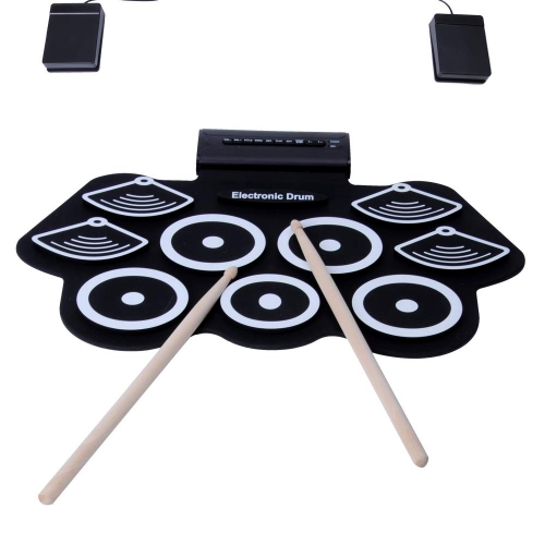Colortree Portable Electronic Drum Set Roll Up Drum Kit Pad 9 Electric Drum Pads with Headphone Jack