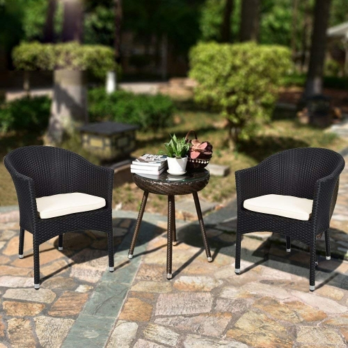Karmas Outdoor Dining Rattan Chairs Patio Garden Furniture with Seat Cushions,Weave Wicker Armchair 1 PC (Black)