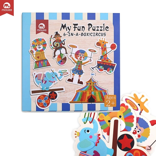 Mobee 6-in-1 Educational Jigsaw Puzzles with Reference Sample for Preschool Kids, Circus Puzzle