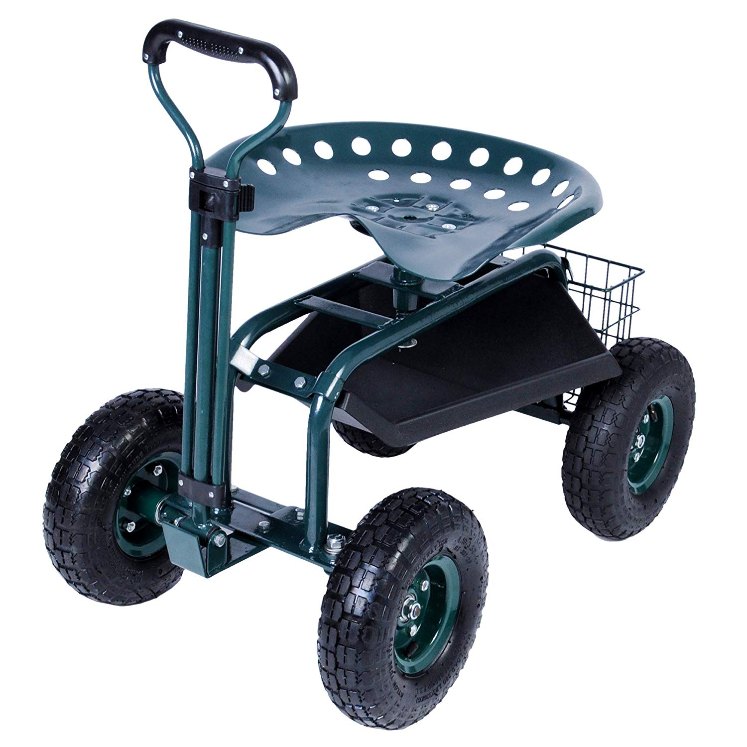 Karmas Steerable Garden Stool Cart With Tool Tray And